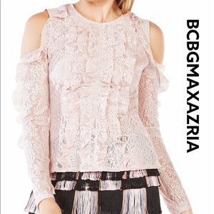 BCBG Maddy Cold Shoulder Lace Top